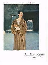PUBLICITE ADVERTISING 054  1957  JEANNE LANVIN-CASTILLO boutique fourrure EMBA 2