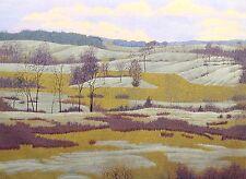 """Gordon Mortensen """"Winter in Baker Park"""" Signed Color Woodcut Fine Artwork Print"""