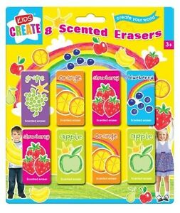 8 Fruit Scented Smelly Erasers Rubbers Kids Back to School Party Bag Filler Toy