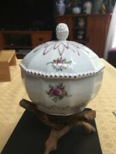 Nymphenburg Perl Pearl #982 12 Sided Covered Box Or Sugar Bowl Floral