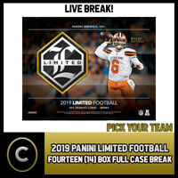 2019 PANINI LIMITED FOOTBALL 14 BOX (FULL CASE) BREAK #F377 - PICK YOUR TEAM