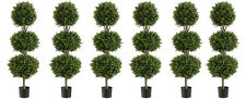 """6 Artificial 56"""" Boxwood 3 Ball Topiary Tree W Pot In Outdoor Plant Patio Fake"""