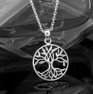 Sterling Silver 925 Tree Of Life Pendant Necklace Ladies Jewellery Gift Boxed