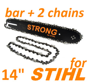 """for STIHL 14"""" 35cm 3/8 1.3mm Guide Bar & 2 Chains  018 MS180 MS181 Chainsaw"""