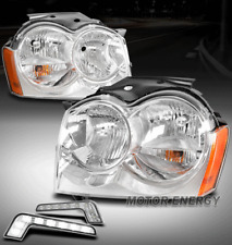 For 05-07 Jeep Grand Cherokee Chrome Headlights Lamp w/LED DRL Signal Left+Right