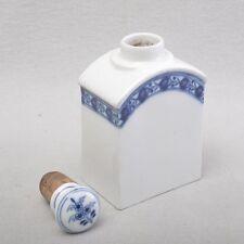 Meissen frühe Teedose, Marcolini, Blumenranken, kobaltblaue Unterglasurmalerei