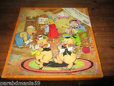 Anciens jeux de patience-puzzle en bois-les 3 p tits cochons- Disney-Vera-1938