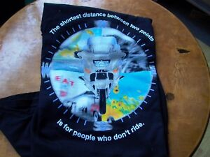 BMW K1200LT MED M T Shirt Shortest distance is for people who don't ride Black