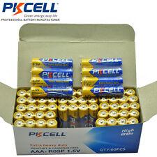 60/Box lots of  PKCELL 1.5V R03P AAA Carbon-Zinc Extra Heavy Duty Batteries