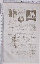 1788 ANTIQUE PRINT mécanique angle d'élévation Rolling Lampe Levier Jack Powers
