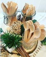 300 Pcs Wooden Cutlery Set Eco Disposable Wooden Utensils Forks, Spoons & Knives