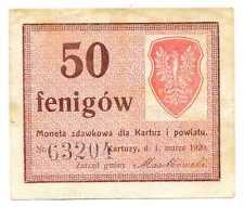 Poland Local Currency Moneta Zdawkowa Kartuzy i Powiat 50 Fenigow 1.03. 1920 VF