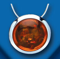 Amber Pendant Amber Necklace Solitaire Solid Sterling Silver With Snake Chain