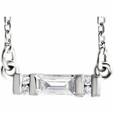 Diamante Baguette Barra 40,6-45,7cm Collar en Platino (1/10 Ct. Tw