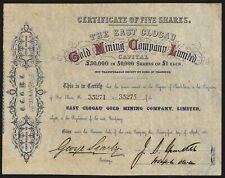 East Clogau Gold Mining Co. Ltd., £1 shares, 1862, EF