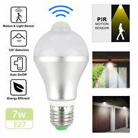7W E27 LED PIR Motion Sensor Detection Lamp White Bulb Outdoor Home Light