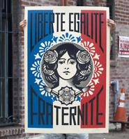 SIGNED Shepard Fairey Liberte Egalite Fraternite Print Poster Obey Giant 24 X 36