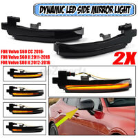 2x Dynamic LED Rearview Mirror Light Turn Signal For Volvo S60 S80 V40 V60 V70