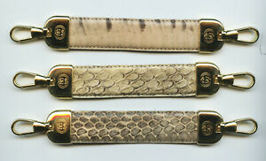 GUCCI Brass & Tan Snake Skin Key Fob Charm Guaranteed Genuine Factory Hardware