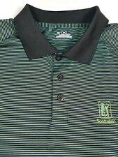 (G3-7619) Under Armour HeatGear Golf Polo Shirt Green  Black Striped Men's Sz XL