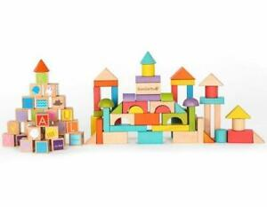 NEW EverEarth Wooden Building Blocks Set - Build & Learn 80pc