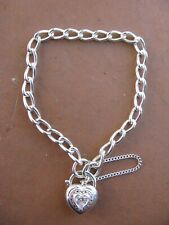 Sterling silver 925 CZ padlock 20cm chain bracelet – good used condition