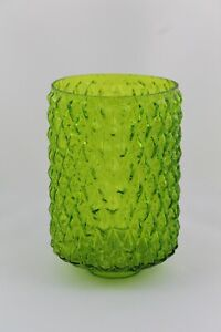 Drum Glass Green With Reliefs, Spare Lamp Vintage 60 Focus Light
