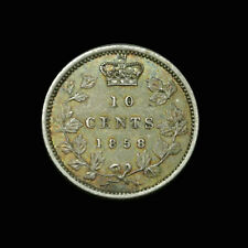 1858 Canada Silver 10 Cents - Victoria - Key Date - High Grade Rainbow