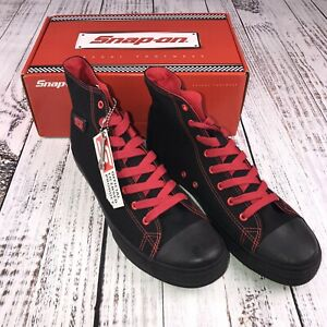 Snap on shoes Hot Rod converse chuck style black red size 12 New In Box