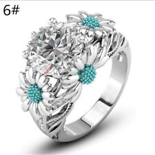 Sea Blue Color Round White Sapphire Daisy Charm Ring Silver Lady Size 5 -11#