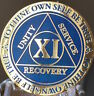 11 Year AA Medallion Blue Gold Plated Alcoholics Anonymous Sobriety Chip Coin