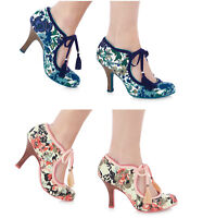 New RUBY SHOO Floral Mary Jane women Hi Court Heel Sandals Vintage Style Shoes