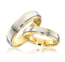 Lote 2 Anillos / Alianzas de boda /Titanio puro con recubrimiento parcial oro IP