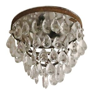 Salvaged Waldorf Flush Mount Tear Drop Crystal Cake Light