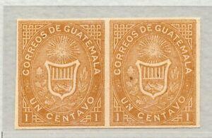 Guatemala 1871 1c Ocher Imperf pair MNG