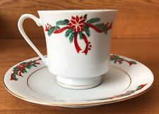 Poinsettia and Ribbons Fine China Christmas Tea Coffee Cup and Saucer Set