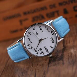 Men Women Round Dial Watch Chick Wristwatch Novelty Math Formula Equation Geek