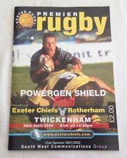 2002 Exeter Chiefs V Rotherham Powergen Escudo programa de recuerdo final