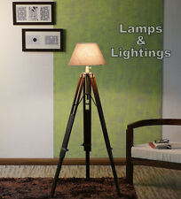 Wood Tripod Lamp Base For Sofas Bed Corners In Home Or Office (Without Shade)