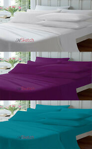 """POLY COTTON FITTED PERCALE SINGLE DOUBLE KING SUPER KING SHEETS 10"""" 26CM,YAW"""