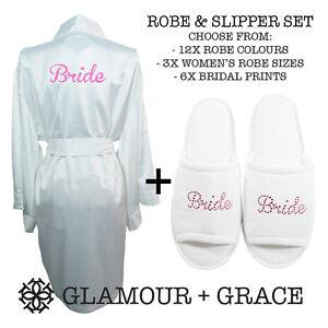 ROBE & SLIPPER SET Bridal Bride Bridesmaid Wedding Satin Robe Dressing Gown