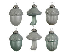 24 Peppermint Green & White Glass Acorn & Mushroom Christmas Tree Baubles Hanger