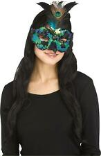 Halloween Fantasy Peacock Costume Feather Mask, One-Size, Turquoise Black