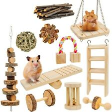 Hamster Toys 11 Pack Guinea Pig Wooden Chinchilla Bunny Chews Toys Natural  B6E6