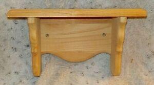 "Unfinished knotty pine wood wall shelf, plate groove, 5"" x 12"", 7"" high"