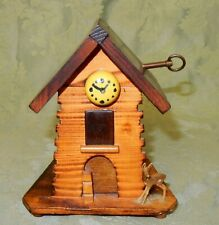 Vintage Swiss Clock Tower Wooden Musical Money Box Thorens Movement