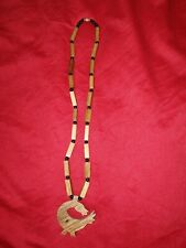 """made in ghana hand made bamboo wood and bead necklace.""""SANKOFA"""" symbol pendant"""