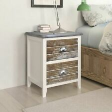 vidaXL Nightstand 2 pcs with 2 Drawers Brown and White Bedroom Bedside Cabinet