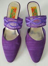 SOULIERS Women's Purple Silk Dressy Mules Sandals Heels Size 6