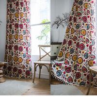Vintage Curtain For Living Room Tassel Boho Window Drapes Hippie Cotton Linen